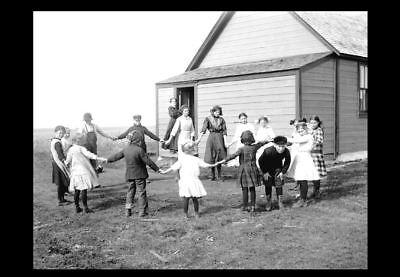 1913 Rural School PHOTO of Milton North Dakota Children Playing Schoolhouse Yard
