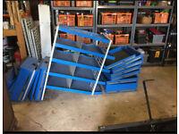 Van shelving blue. Storage.