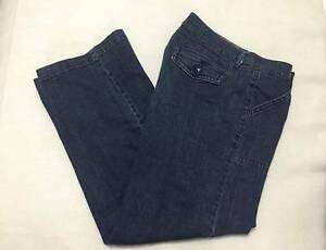 Womens size 12 wide leg front seam dark denim jeans stretch button close pockets