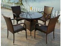 4 SEATER DINING SET RATTAN GARDEN FURNITURE OUTDOOR / INDOOR /PATIO