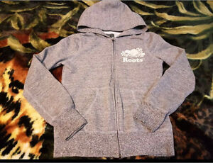 Roots salt and pepper zip up hoodie for girls