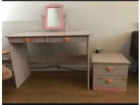 Girls / ladies dressing table with side table & draws