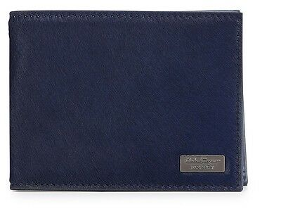 $395 Salvatore Ferragamo Men Luxor Pony Calf Hair Blue Bi-Fold Billfold -