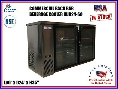 Commercial Back Bar Cooler Beverage Refrigerator Stainless Steel 2 Door Nsf 60