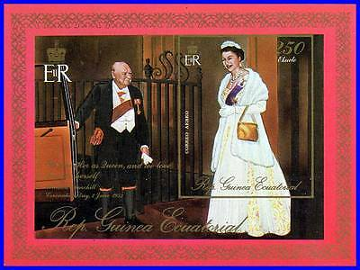EC.GUINEA = CHURCHILL & QUEEN EII S/S imperforated MNH COSTUMES, NOBEL, MILITARY](Famous People Costumes)