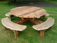 Round picnic tables, pub benches. Patio furniture. Heavy duty - 4,8 seater
