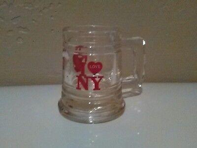 "I Love New York Big Apple Souvenir Shot Glass Mini Beer Mug 2.25"" Tall"