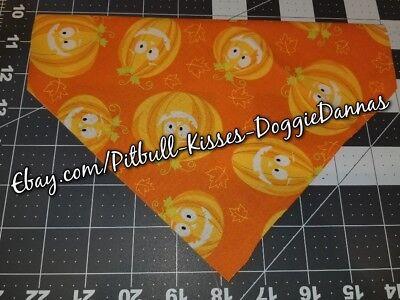 DOG BANDANA Over Collar XS-L SMILING PUMPKINS ORANGE Halloween Bright CLOSEOUT!