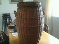 Wicker laundry basket.