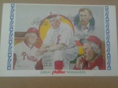POSTCARD GREAT PHILLIES MANAGERS 100th ANNIVERSARY POSTCARD