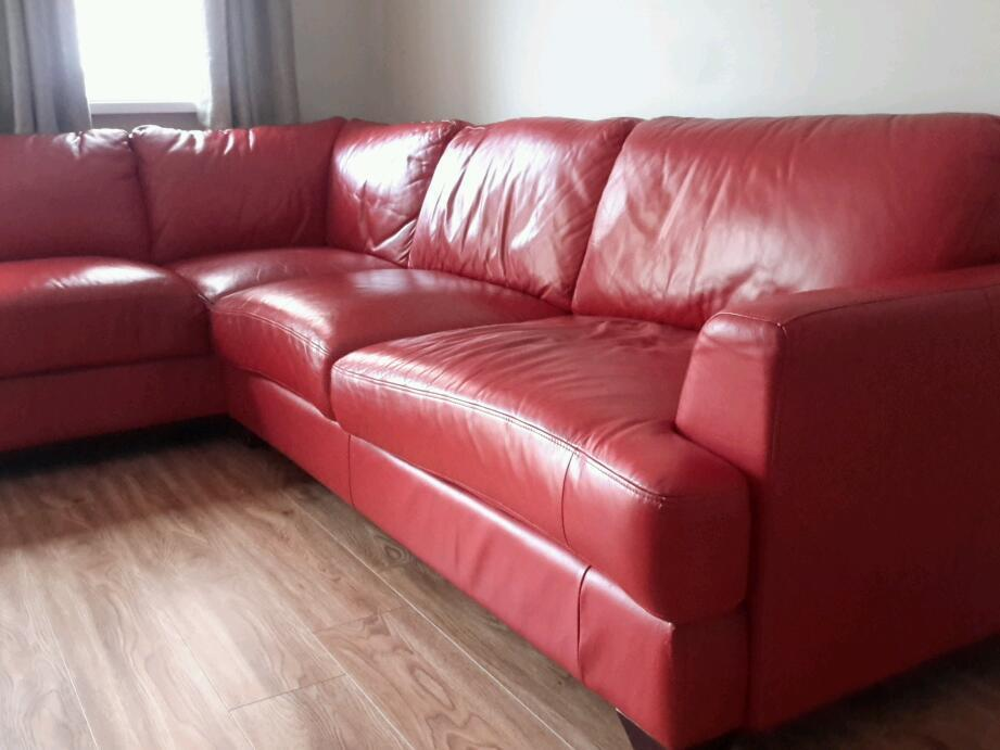 Red Leather Corner Sofa In Ravenhill Belfast Gumtree