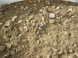 Crushed concrete and brick comes loose or in a bulk bag aggregates