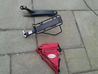 Pannier rack, rear mudguard, bike frame bag
