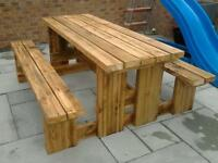 PREMIER PICNIC TABLE - 2 inch thick wood - 2,4,6,8 seater (or more)