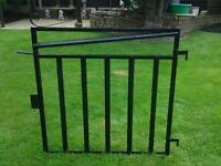 Black metal garden gate