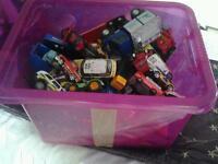 Large box of toy vehicles