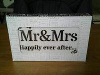 Mr & Mrs sentiment block art with LED lights