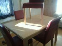 Pine dining table and 4x leather chairs