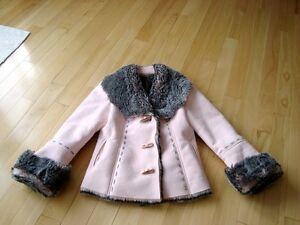 Moffi Intnl. Pink Suede Leather Faux Fur Lined Aspen Coat -MINT