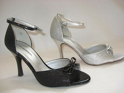Womens City Classified Melin H  Peep Toe Ankle Strap Mid Heel Sandal With Bow