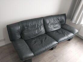 Italian Designer genuine real grey leather sofa XL 3/4 seater total bargain!