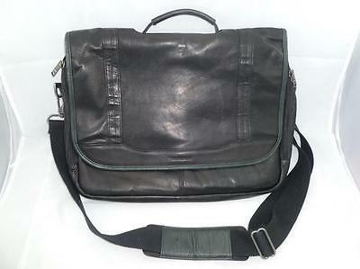 SAMSONITE USED SOFT BLACK LEATHER LAPTOP FLAP OVER BAG/BRIEFCASE/MESSENGER
