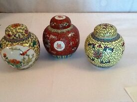 3 Chinese pots with lids
