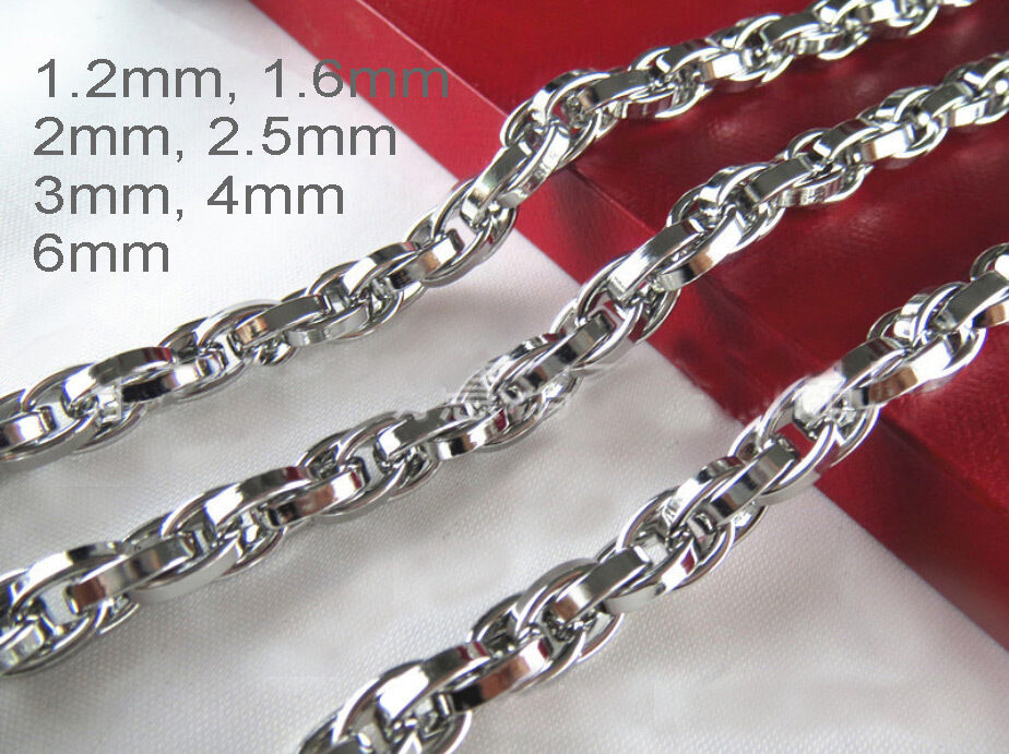 "Necklace - 16""-36"" Mens Womens Stainless Steel Diamond Cut Rope Chains Gene Chains Necklace"