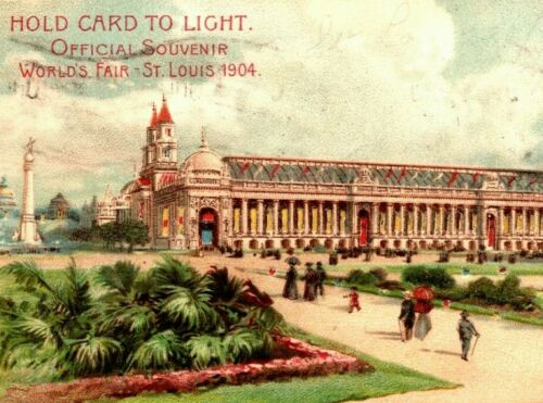 1904 HTL Postcard St. Louis Worlds Fair Hold To Light Palace Varied Industries