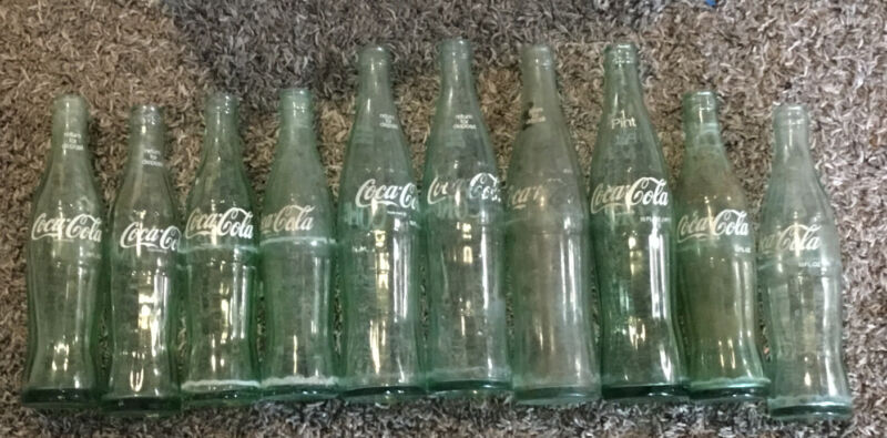 LOT OF 10 VINTAGE COCA COLA SODA GREEN GLASS BOTTLES 16 OZ , 10oz.