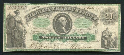 1861 $20 TWENTY DOLLARS VIRGINIA TREASURY NOTE RICHMOND, VA OBSOLETE BANKNOTE