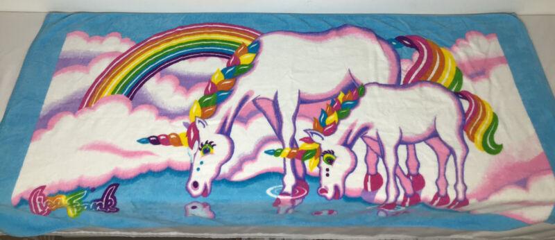 """Vintage Lisa Frank Beach Towel Unicorns Rainbow EUC! 60""""x30"""""""