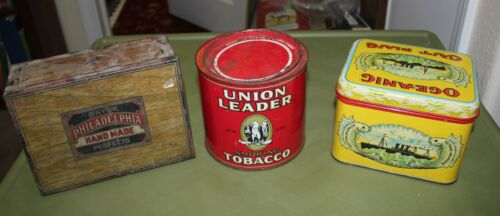 Lot of 3 Vintage tobacco tins Union Leader, Oceanic , Philadelphia