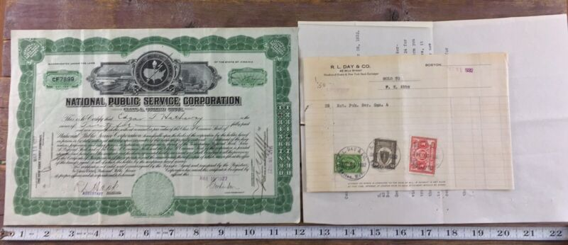 National Public Service Stock Certificate Common Green 1927 Virginia + Papers
