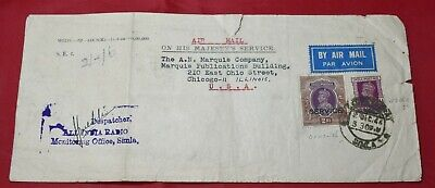 All India Radio 2 Rupee Official 1946 Commercial Airmail Cover to Chicago Marqui for sale  Shipping to India