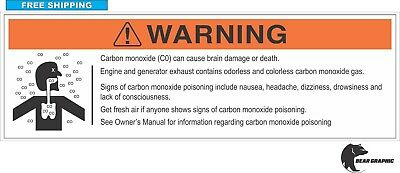 "CARBON MONOXIDE WARNING DECAL, Label 7""X 2.25""  MARINE, BOAT, WATERCRAFT, RV, Co"