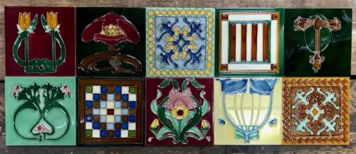 10 Beautiful Individual Tubelined Art Nouveau Fireplace Tiles