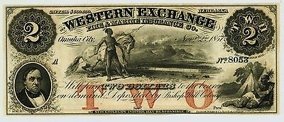 Superb Gem Crisp $2.00 Western Exchange Fire & Marine Insurance Co of Nebraska