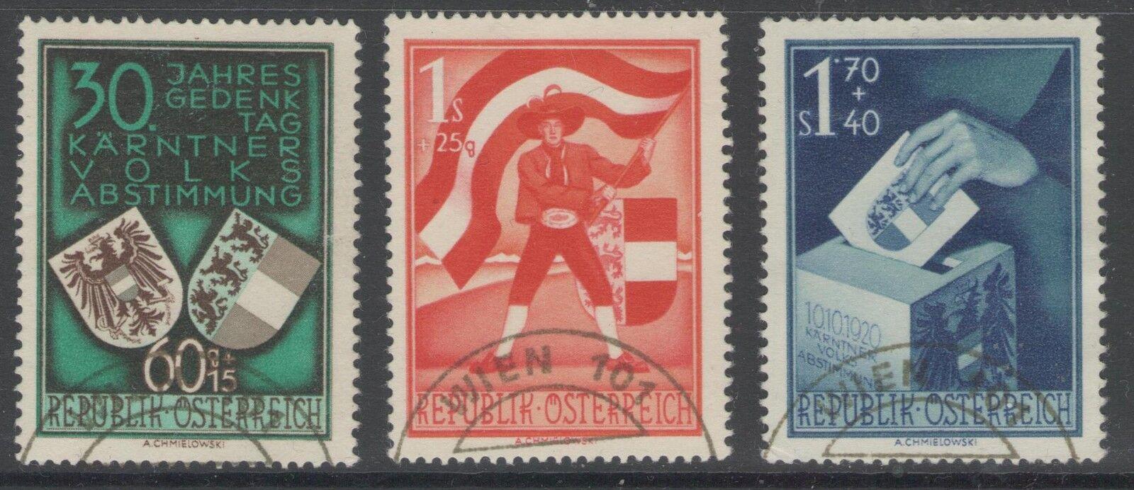 AUSTRIA SG1212/4 1950 PLEBISCITE FINE USED