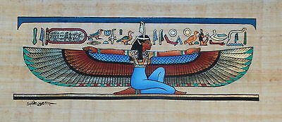 "Egyptian Papyrus - Hand Made Artwork -16.5"" x 6.5"" Ancient Art - Goddess Isis"