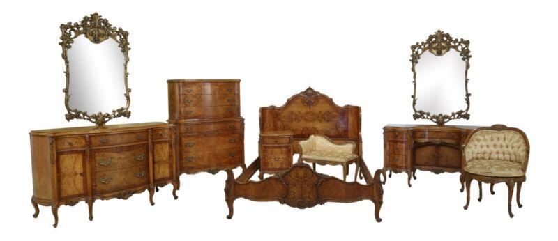 L32161EC: Vintage 1930s French Inlaid 9 Piece Satinwood Bedroom Set