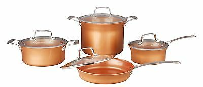 CONCORD 8 Piece Ceramic Coated Cookware -Copper- Pan Set Induction Compatible