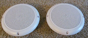 A-PAIR-RV-Marine-Camper-Trailer-White-5-1-4-034-Recess-Mount-Speakers-UV-Protected