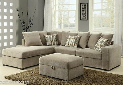 Olson Contemporary Reversible Sectional With Chaise Chenille Fabric Living Room Contemporary Chenille Living Room