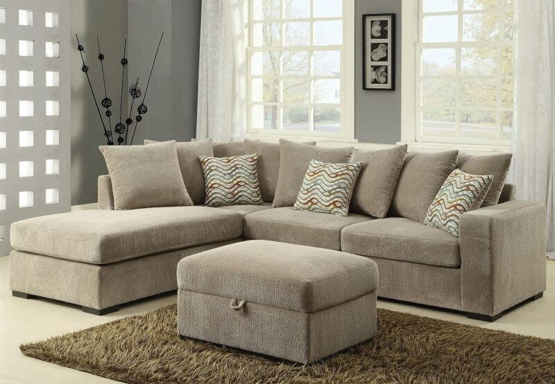 Olson Contemporary Reversible Sectional With Chaise Chenille Fabric Living Room