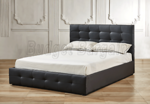 Bravo Gas Lift Storage PU Leather Bed Frame Queen or King Black