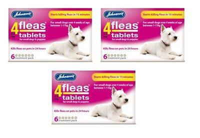 Johnsons 4Fleas Tablets Small Dog 3 x 6 Pack = 18 tablets Kills Fleas Fast