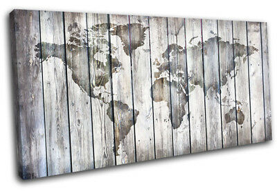 World Atlas Vintage Wood 120x60cm Maps Flags CANVAS WALL ART Print