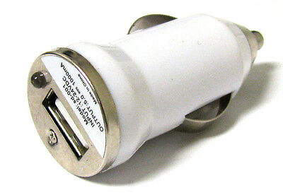 White Mini Usb - New Mini White USB port Car charger Adapter 4 MP3 IPOD IPhone Cellphone 1000mah