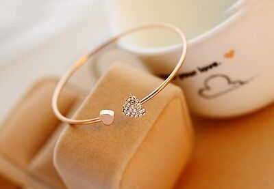 Double Heart Bangle Bracelet (Kylie Jenner favorite Double Heart CZ Bangle Bracelet 18 Gold Ep  #A-03 )